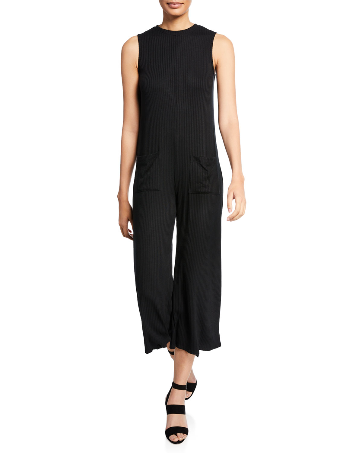 RACHEL PALLY Cassius Ribbed Sleeveless Jumpsuit in Black