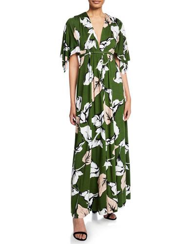 Long Floral-Print Jersey Caftan Dress