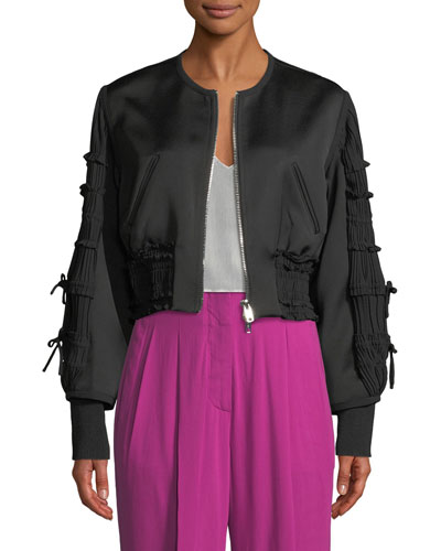 Gathered-Sleeve Zip-Front Smocked Bomber Jacket