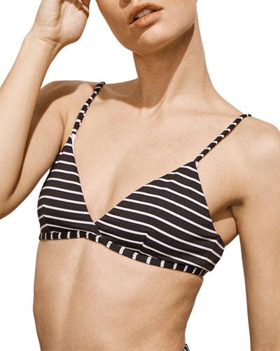 Fleur Striped Triangle Bikini Top