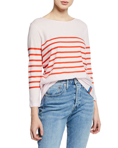 The Malibu Striped Bracelet-Sleeve T-Shirt