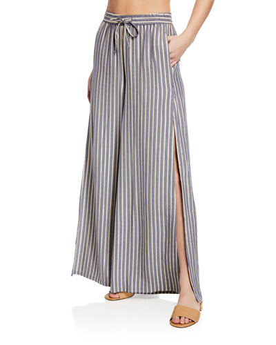 Chloe Metallic Wide-Leg Coverup Pants