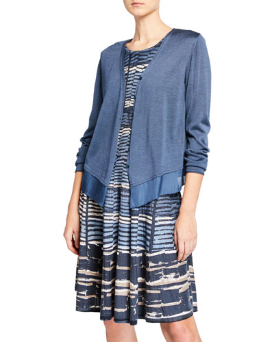 Petite Easy Flow Button-Front Cardigan with Chiffon Hem