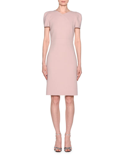 4b40ab7cec9 Quick Look. Giorgio Armani · Short-Sleeve Wool Crepe V-Neck Dress ...