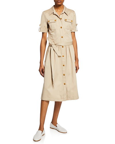 Safari Button-Front Short-Sleeve Cotton Shirtdress