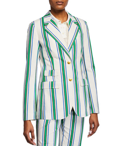 Striped Two-Button Cotton Blazer