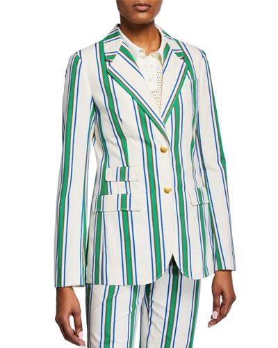 Striped Two-Button Cotton Blazer