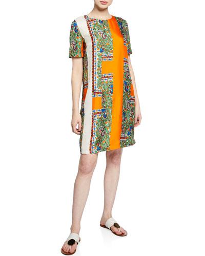 Mallory Short-Sleeve Bird-Print Silk Dress