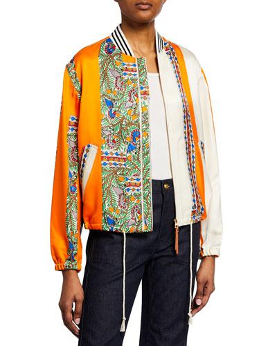 50e46183429c Quick Look. Tory Burch · Silk Wool Twill Zip Bomber Jacket