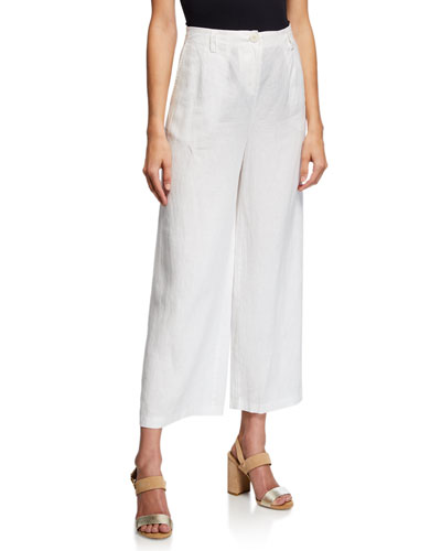 High-Waist Organic Linen Full-Leg Ankle Trousers