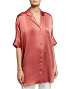 Eileen Fisher Hammered Silk Button-Front Elbow-Sleeve Shirt and