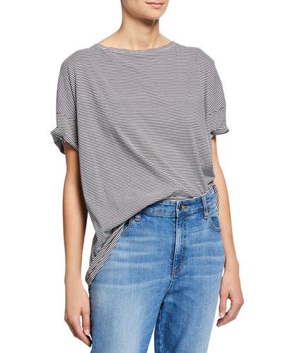 Mini-Stripe Bateau-Neck Short-Sleeve Tee, Plus Size
