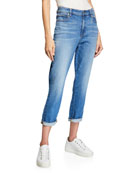 Eileen Fisher Mini-Stripe Bateau-Neck Short-Sleeve Tee and