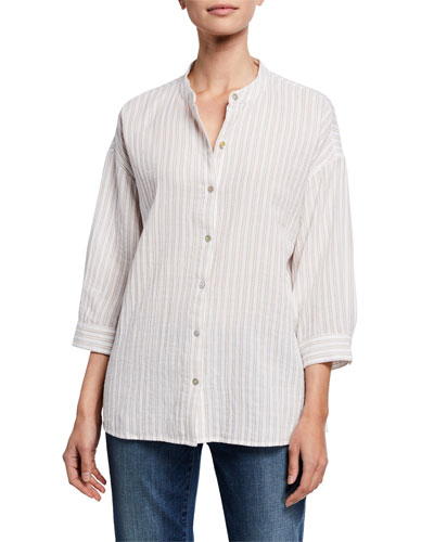 Striped Button-Front 3/4-Sleeve Cotton Gauze Shirt