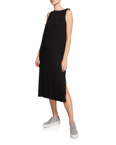 Tie-Shoulder Long Jersey Tank Dress