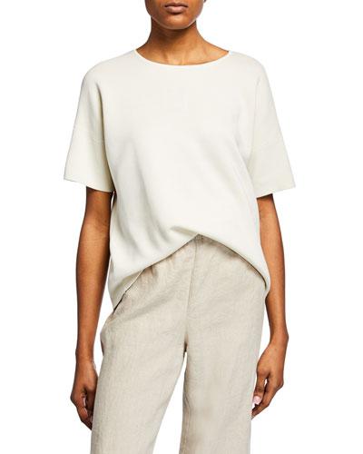 Elbow-Sleeve Silk Cotton-Interlock Sweater, Plus Size