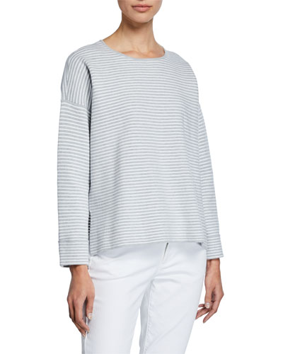Stripe Organic Cotton/Silk Round-Neck Sweater
