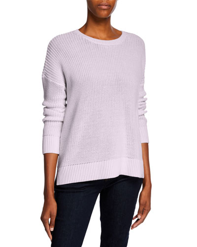 Plus Size Boat-Neck Long-Sleeve Organic Cotton Sweater