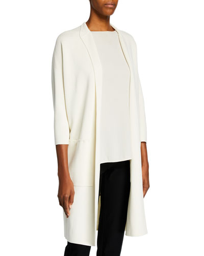 Long High-Collar Open-Front Interlock Jacket