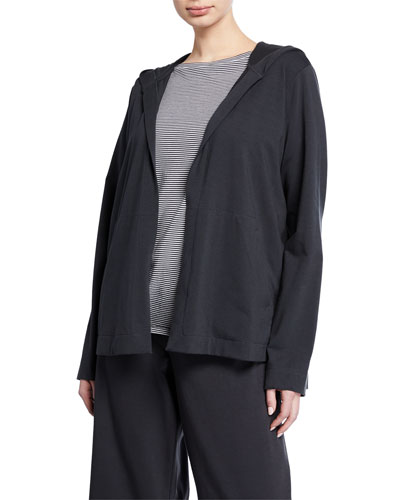 Plus Size Stretch Jersey Hooded Jacket