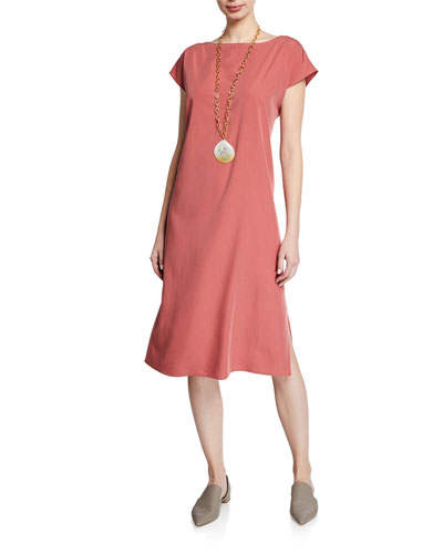 Sand-Washed Tencel Short-Sleeve Dress