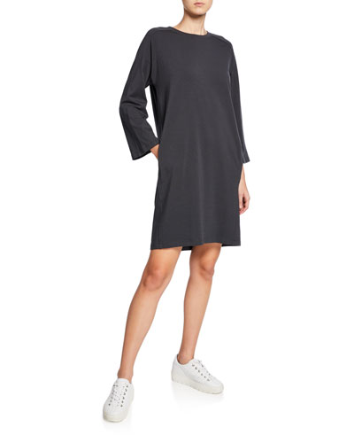 Crewneck Bracelet-Sleeve Jersey Dress