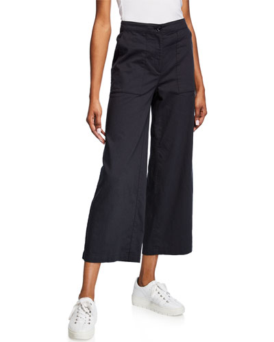 Petite High-Waist Cotton Twill Flared-Leg Ankle Pants
