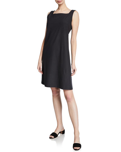 Petite Sleeveless Square-Neck Stretch Crepe Dress