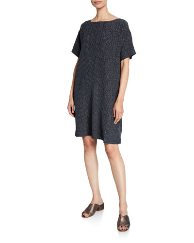 Morse Code Short-Sleeve Shift Dress