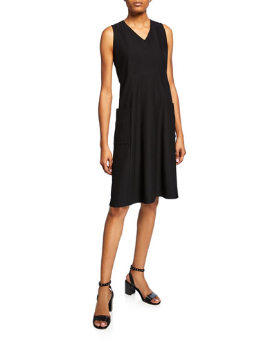 Washable Crepe V-Neck Sleeveless Pocket Dress