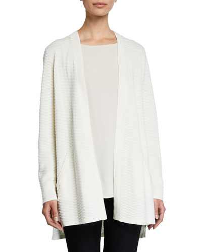 Simple Textured Silk/Cotton Cardigan, Plus Size