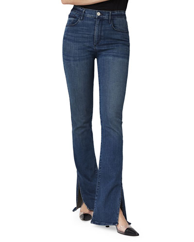 High-Rise Slim Bell Boot-Cut Jeans w/ Split Hem