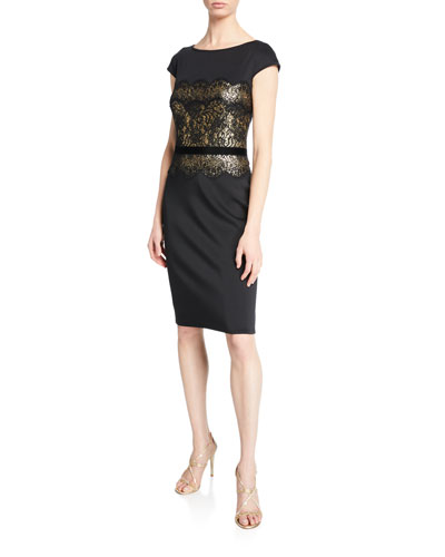 Boat-Neck Cap-Sleeve Neoprene Dress with Lace