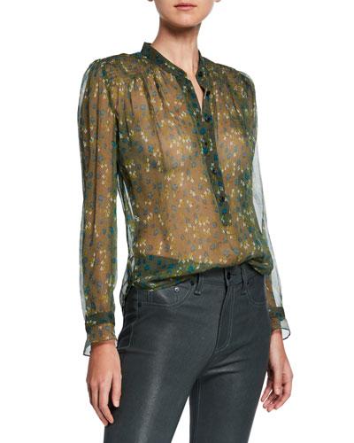 Susan Floral Chiffon Long-Sleeve Blouse