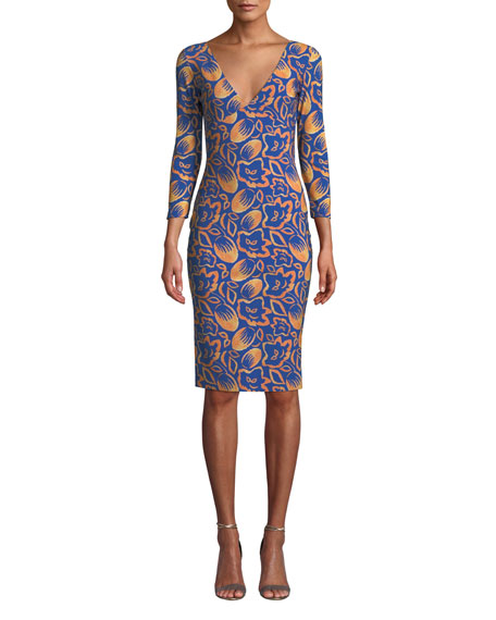 Chiara Boni La Petite Robe Manisha V-Neck 3/4-Sleeve Printed Dress