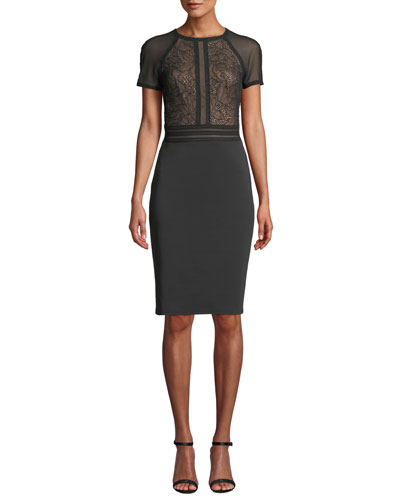 Short-Sleeve Sheath Dress with Lace Bodice & Neoprene Skirt