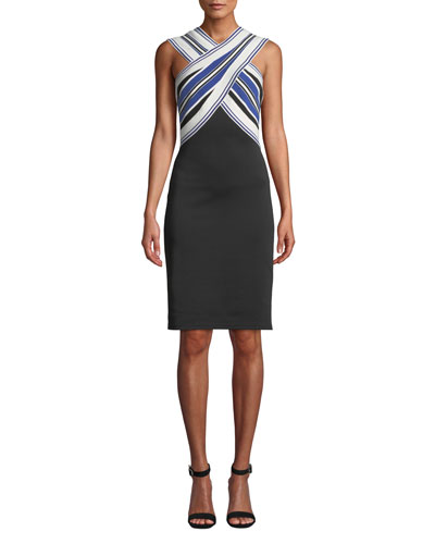 Striped Halter-Neck Dress w/ Contrast Skirt