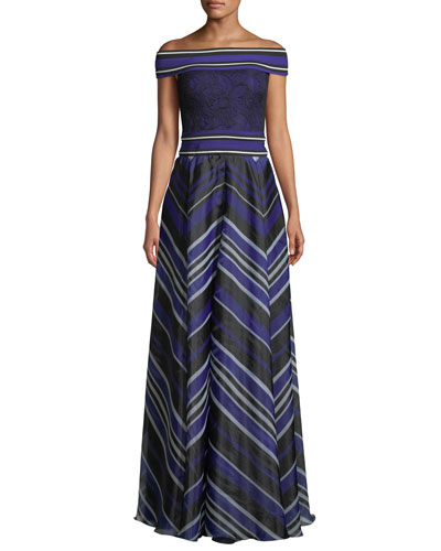 Miter Stripe Off-the-Shoulder Short-Sleeve A-Line Gown
