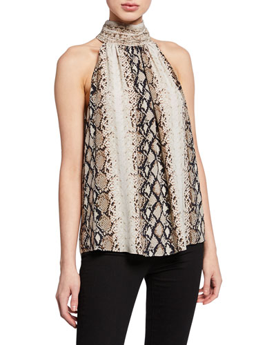 Erola Mock-Neck Snake-Print Top