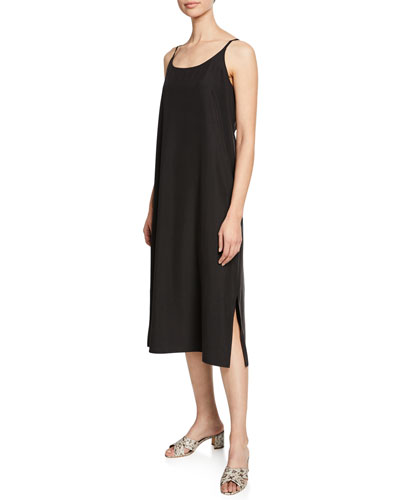 Sandwashed Scoop-Neck Slip Dress, Petite