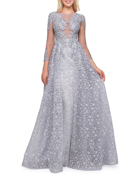 Mac Duggal Boat-Neck 3/4-Sleeve Illusion Gown with Lace Overlay