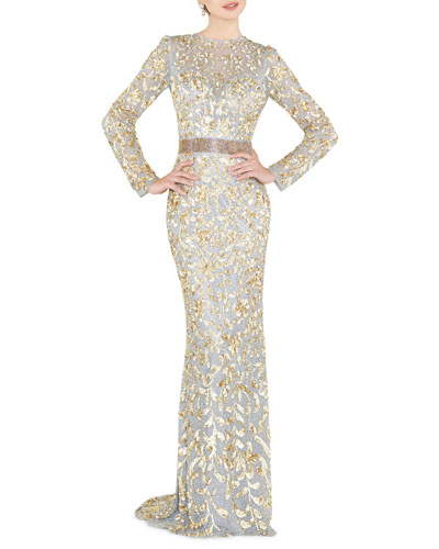 Sequin High-Neck Long-Sleeve Illusion Gown w/ Open Back