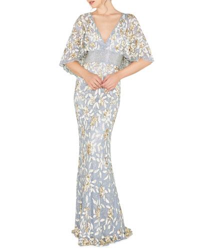 V-Neck Floral Sequin Metallic Column Gown w/ Cape