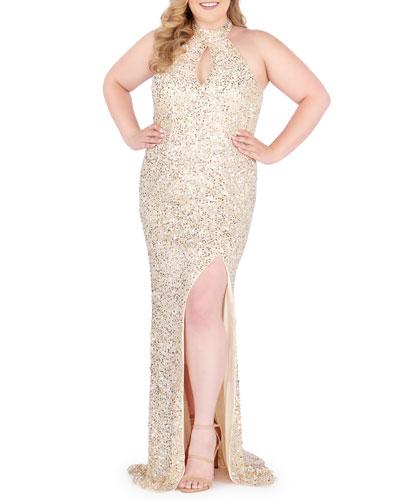 Plus Size Sequin Halter-Neck Keyhole Gown w/ Thigh-Slit