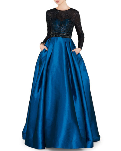 Sequin Embellished High-Neck Illusion Long-Sleeve Taffeta Ball Gown