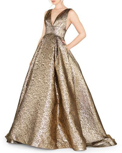 V-Neck Sleeveless Empire-Waist Metallic Ball Gown