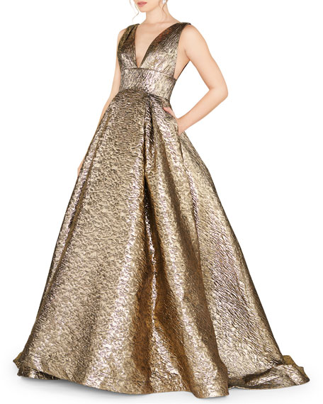 Mac Duggal V-Neck Sleeveless Empire-Waist Metallic Ball Gown