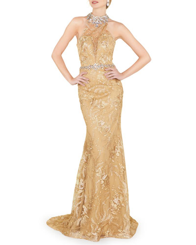 Halter Beaded Illusion Column Gown with Lace Applique & Open Back