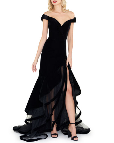 Off-the-Shoulder Velvet Gown w/ Layered Ruffle Mesh Skirt