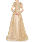 Mac Duggal High-Neck 3/4-Sleeve Lace Overlay Illusion Gown